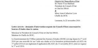 Lettre ouverte : demande d'intervention urgente du Conseil d'Etat concernant les bourses d'études