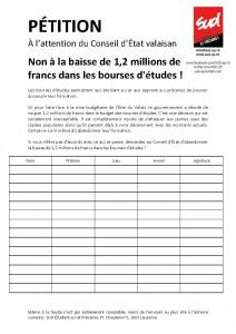 pétition - Bourses d'études