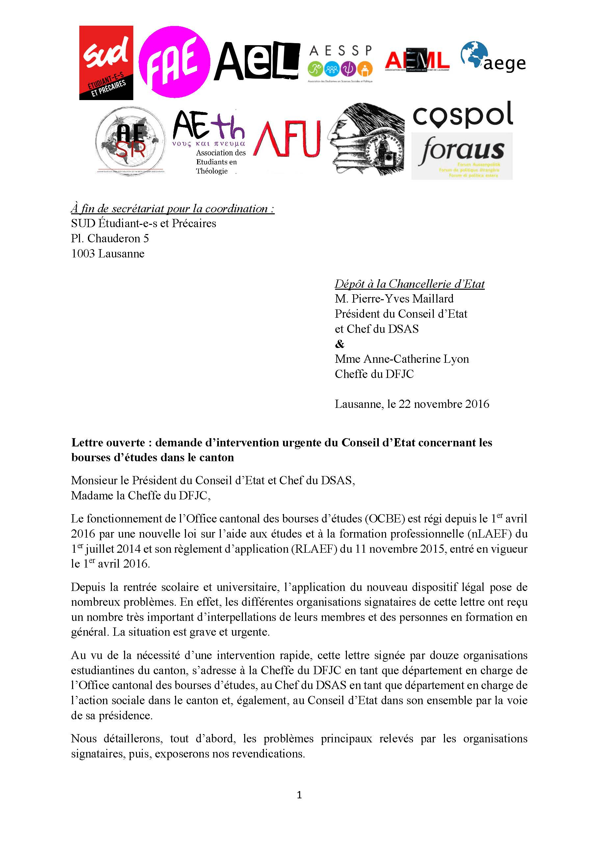Lettre Ouverte Demande D Intervention Urgente Du Conseil D